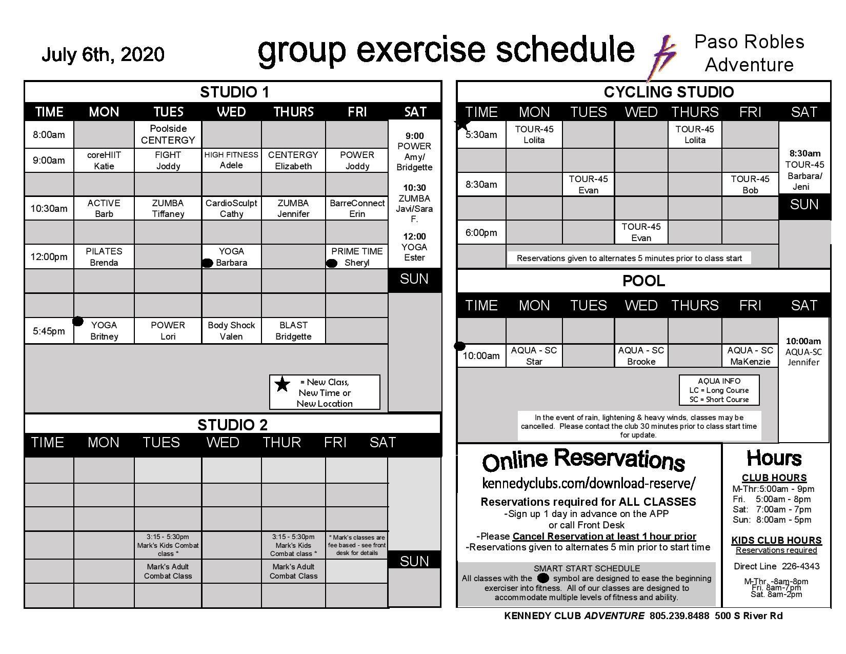 KCF-Paso Robles Group Exercise Schedule 7-7-20
