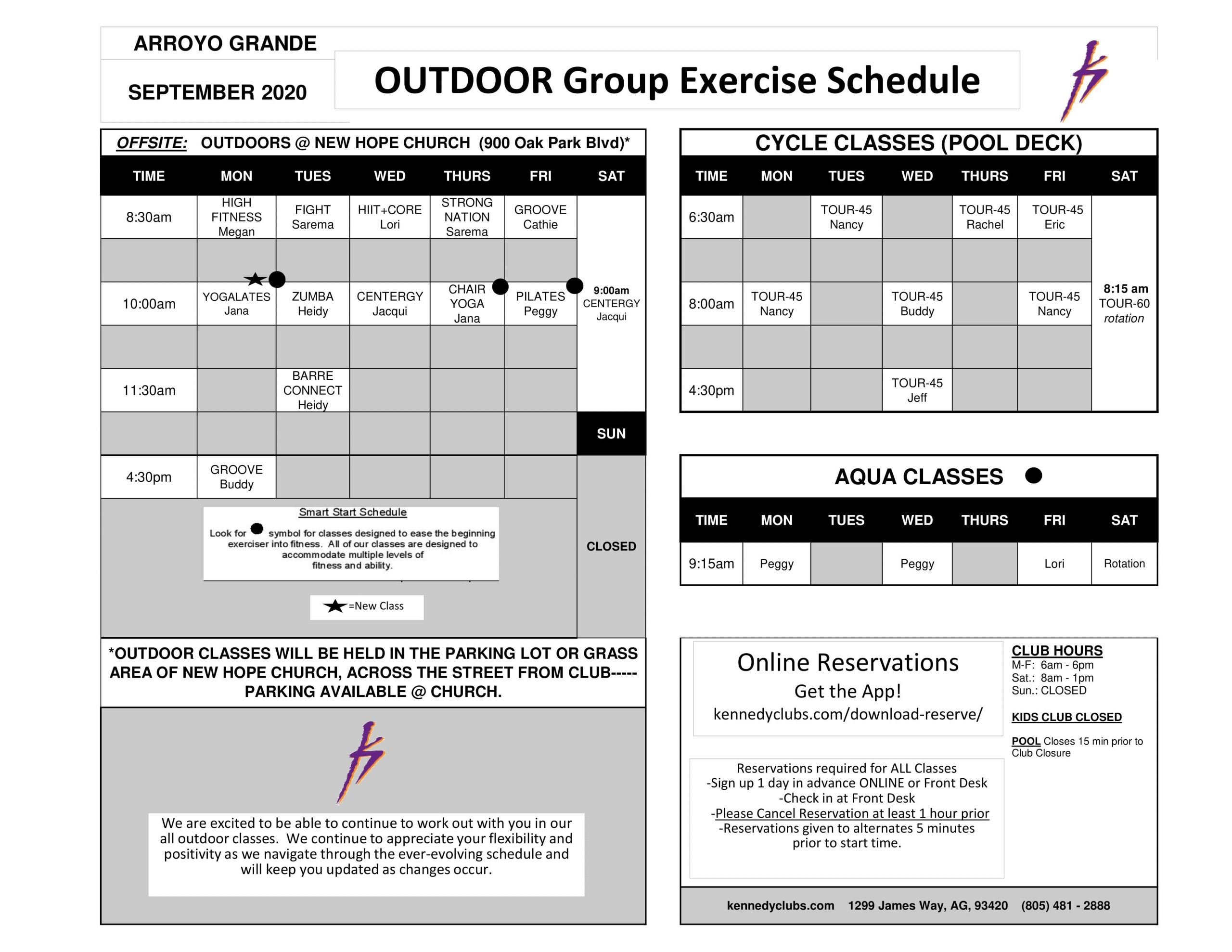 Kennedy Club Fitness Arroyo Grande Outdoor Group Exercise Schedule 09 09 2020