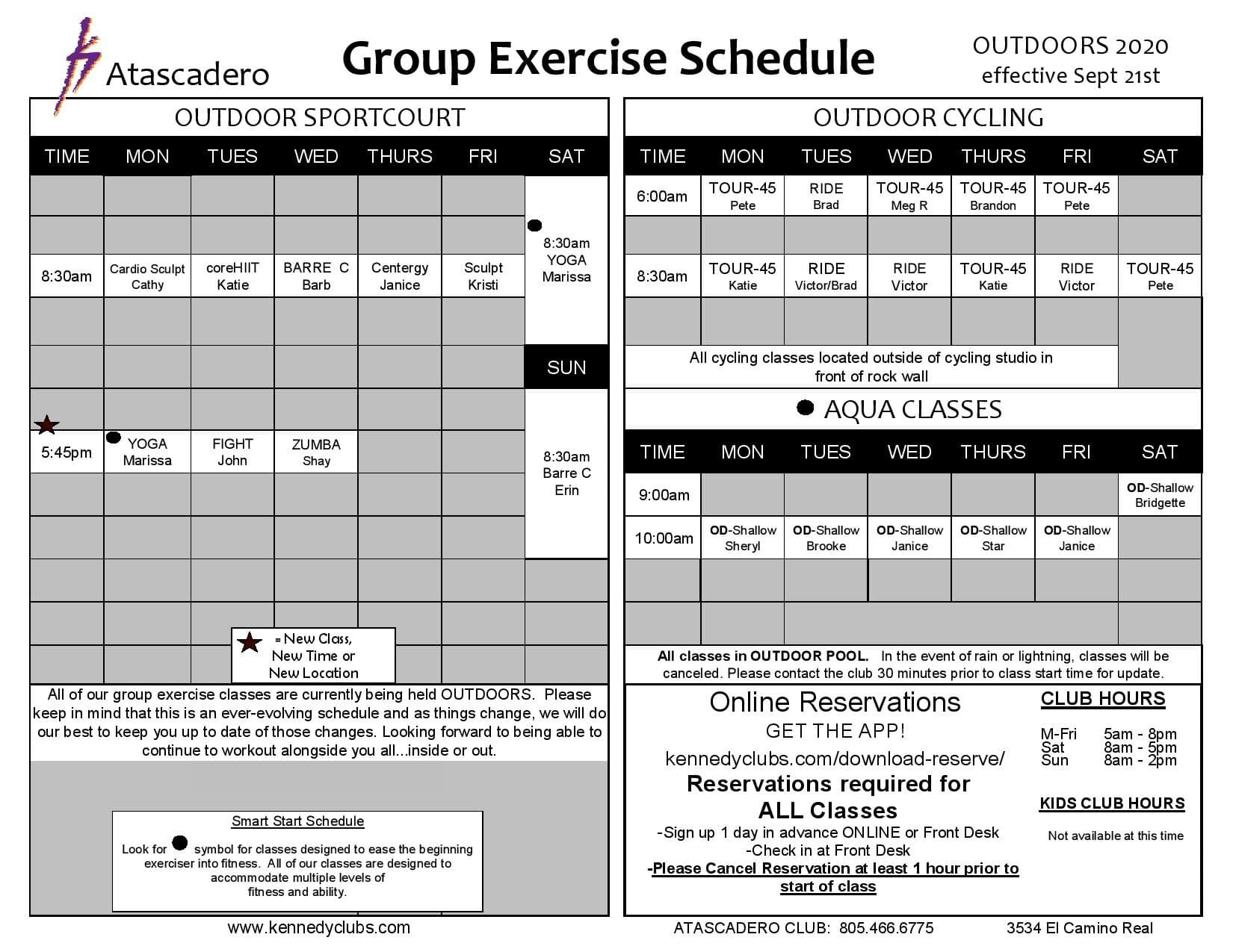 Kennedy Club Fitness Atascadero Outdoor Group Exercise Schedule 9 21 2020 v2