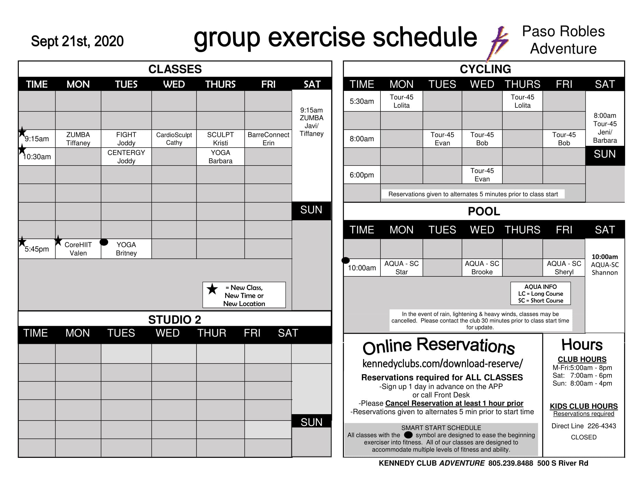 Kennedy Club Fitness Paso Robles Outdoor Group Exercise Schedule 9 21 2020