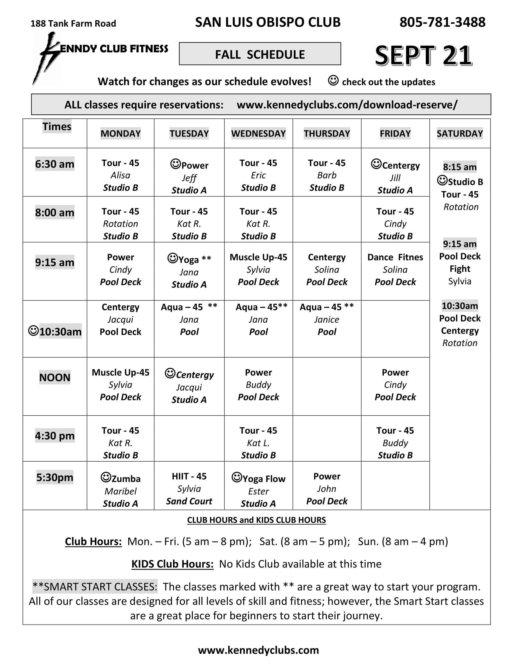 Kennedy Club Fitness San Luis Obispo Group Exercise Schedule 09 21 2020