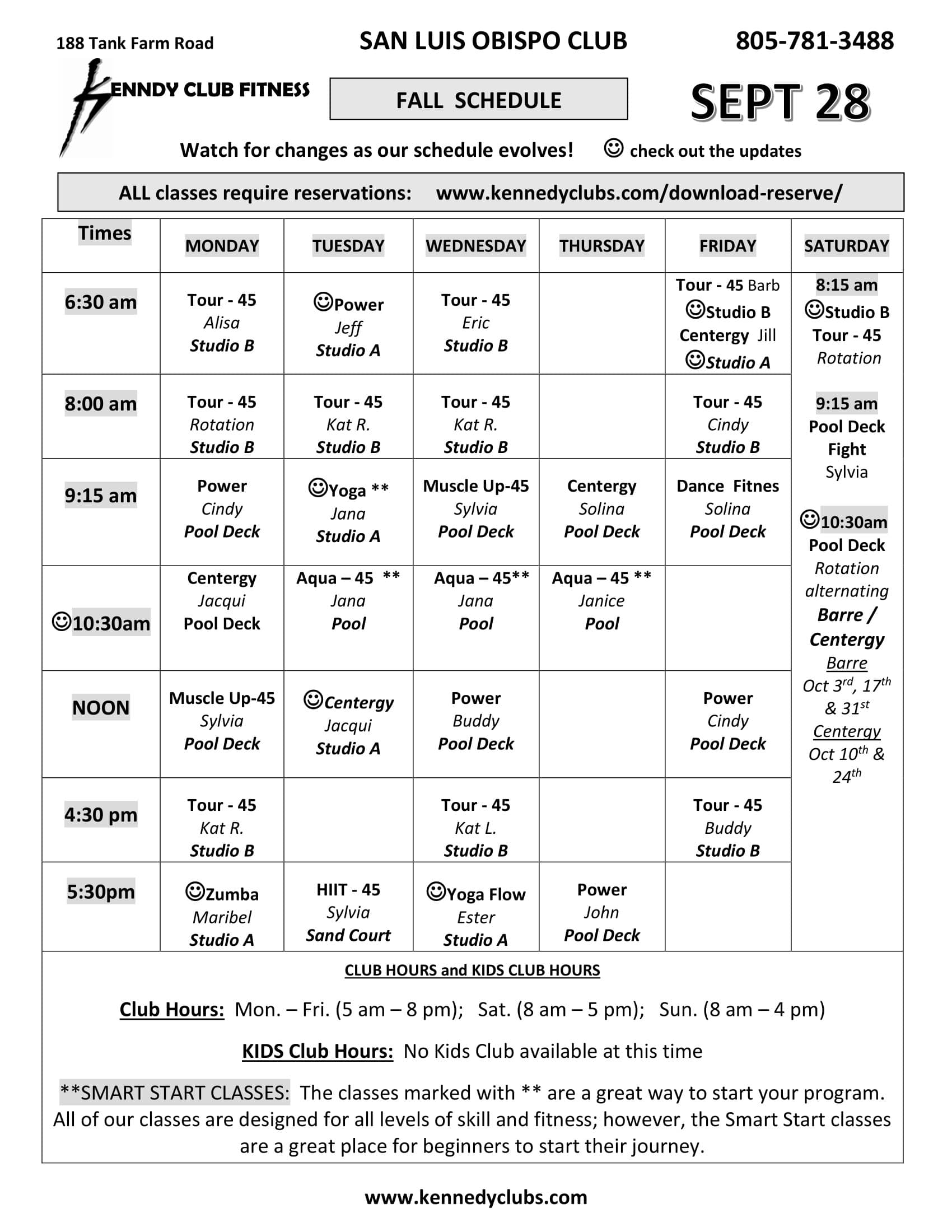 Kennedy Club Fitness San Luis Obispo Group Exercise Schedule 09 28 2020