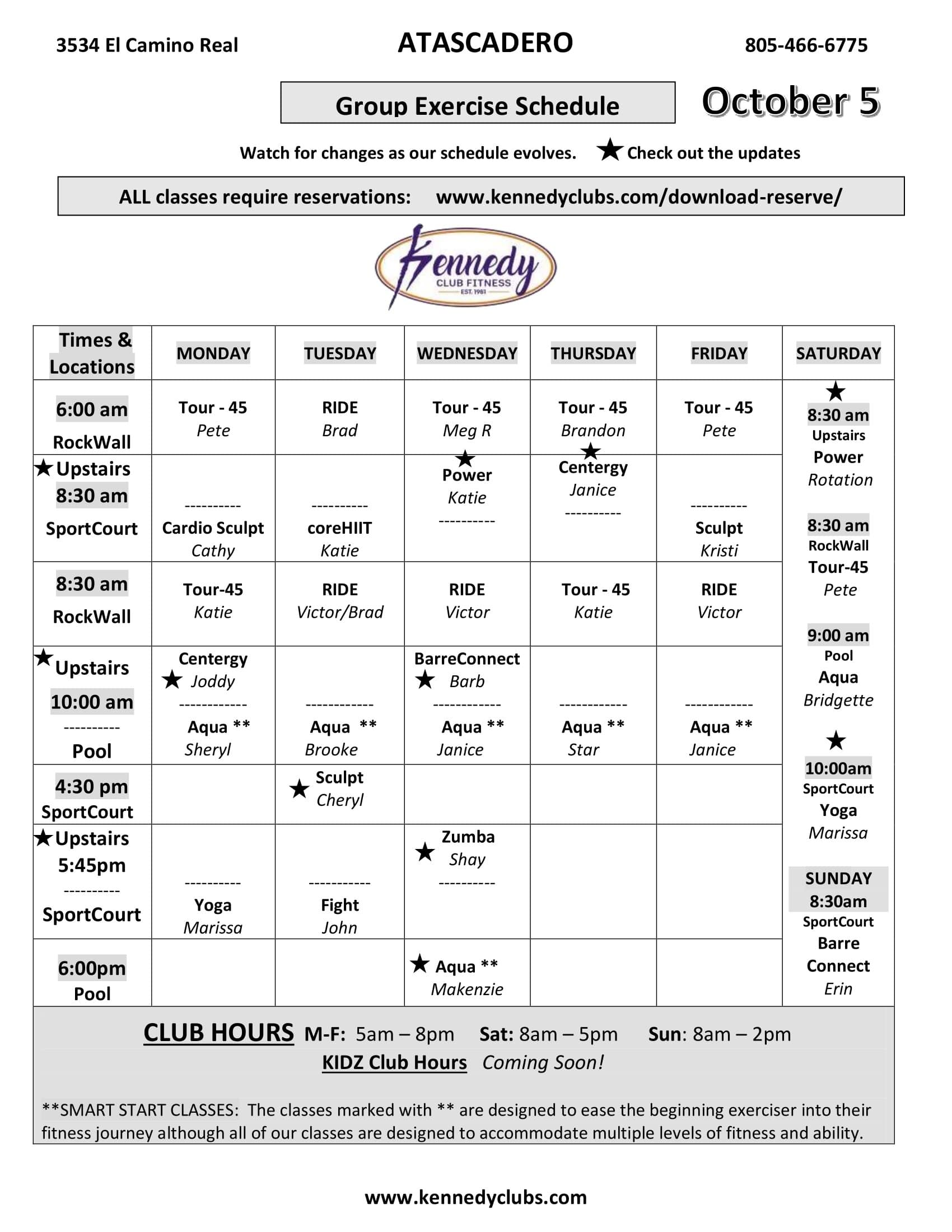 Kennedy Club Fitness  Atascadero Group Exercise Schedule 10 05 2020