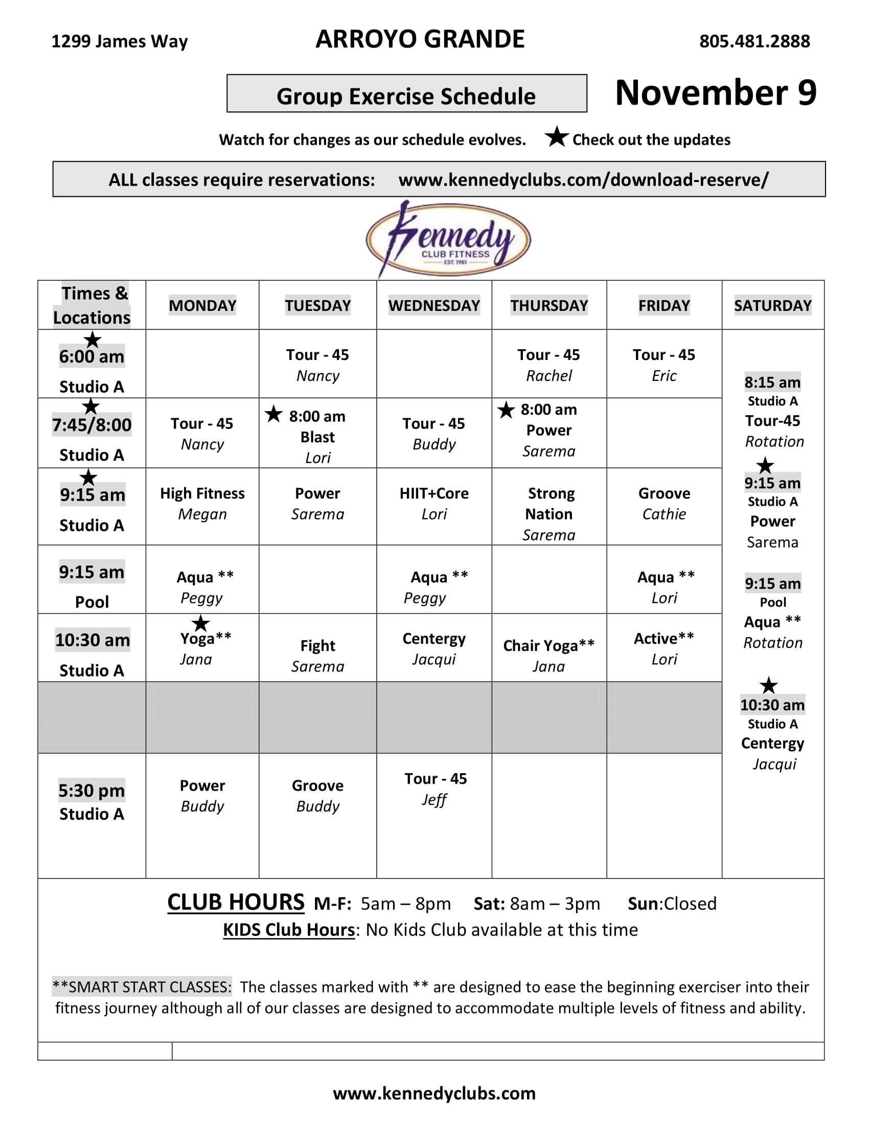 Kennedy Club Fitness Arroyo Grande Group Exercise Schedule 11 09 2020