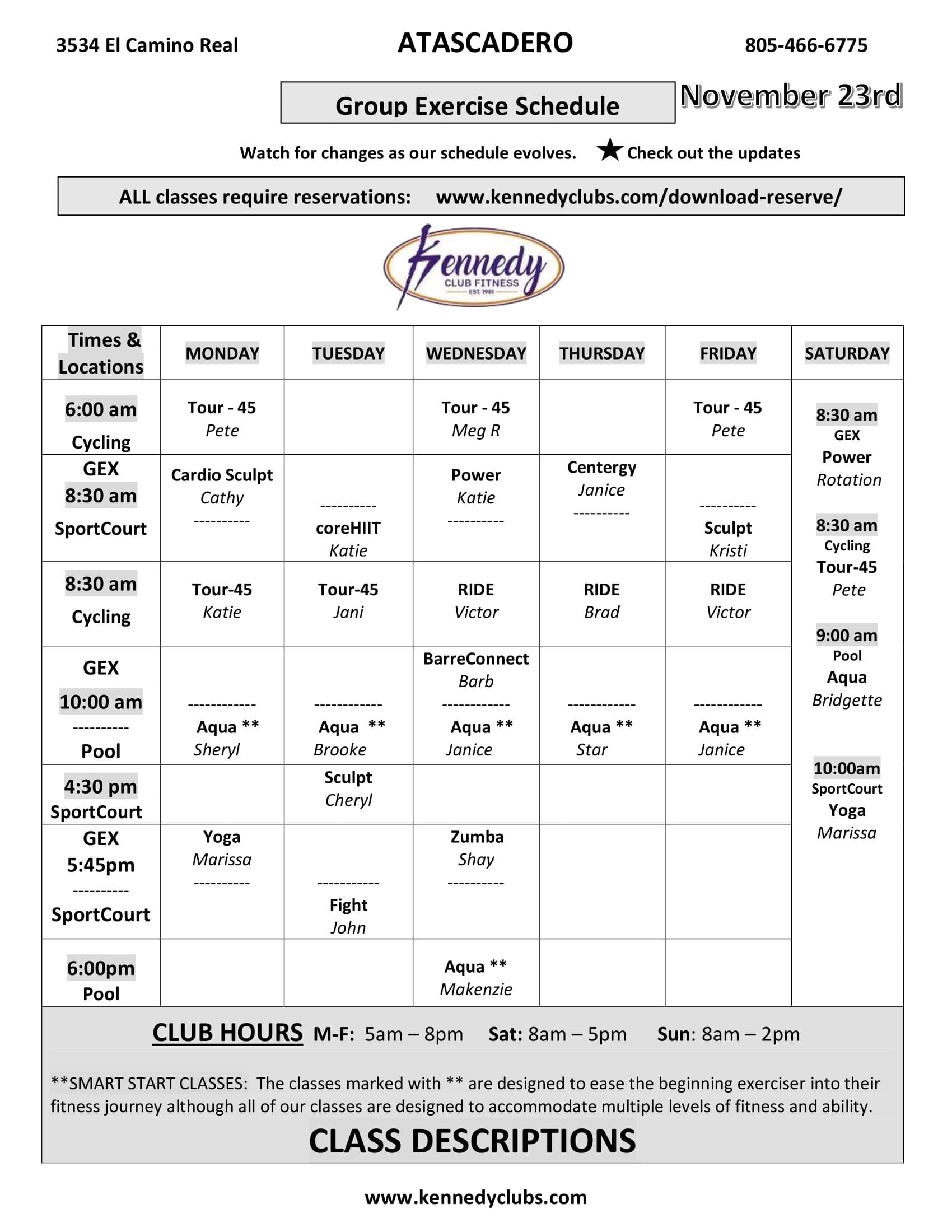 Kennedy Club Fitness Atascadero Group Exercise Schedule 11 23 2020