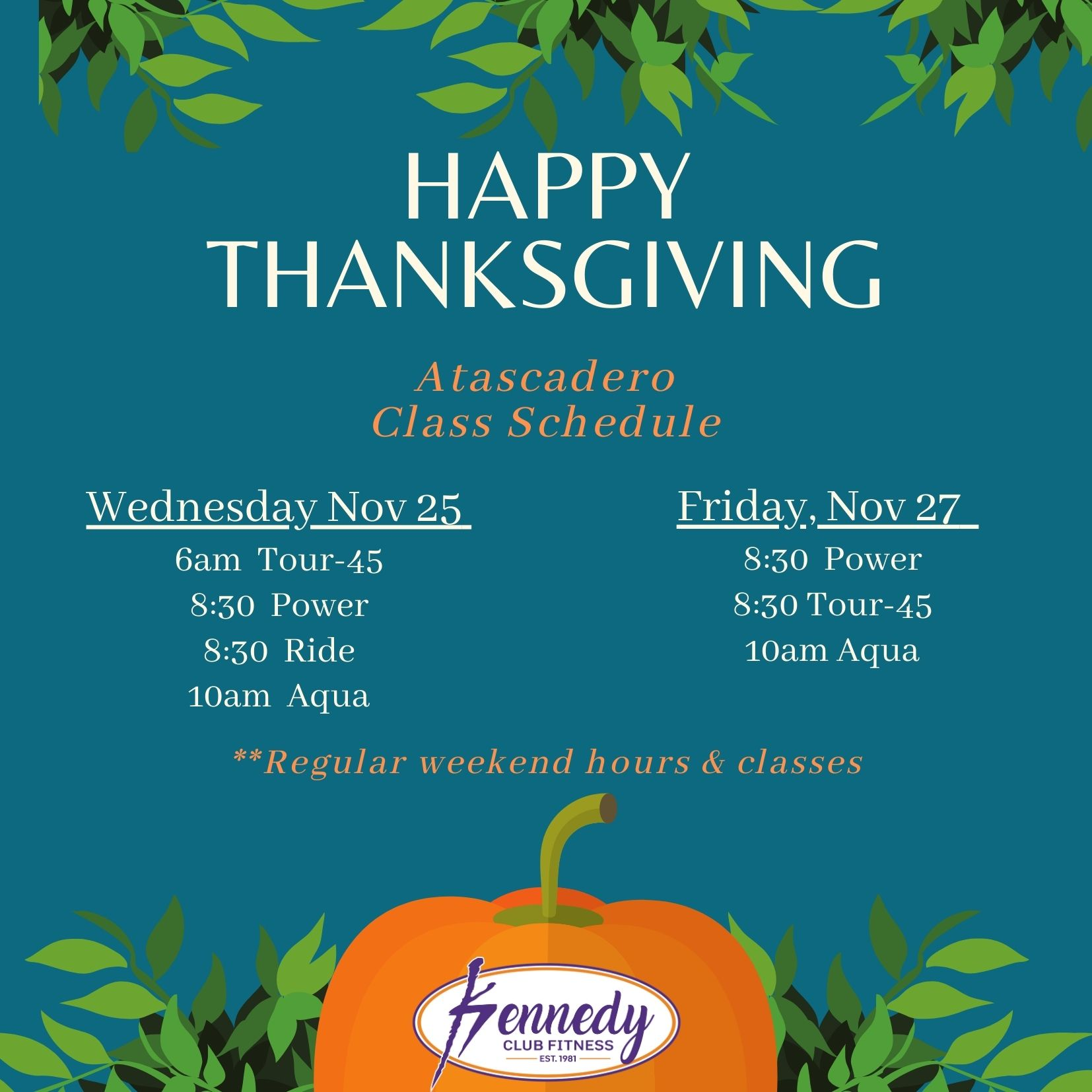Kennedy Club Fitness Atascadero Group Exercise Schedule Thanksgiving 2020
