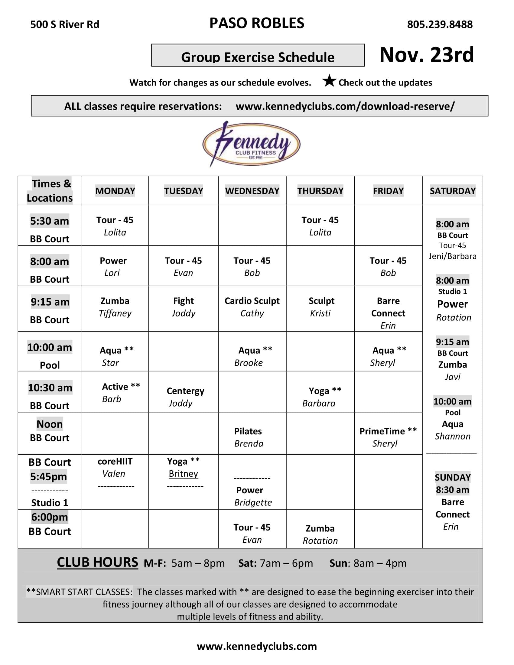 Kennedy Club Fitness Paso Robles Group Exercise Schedule 11 23 2020