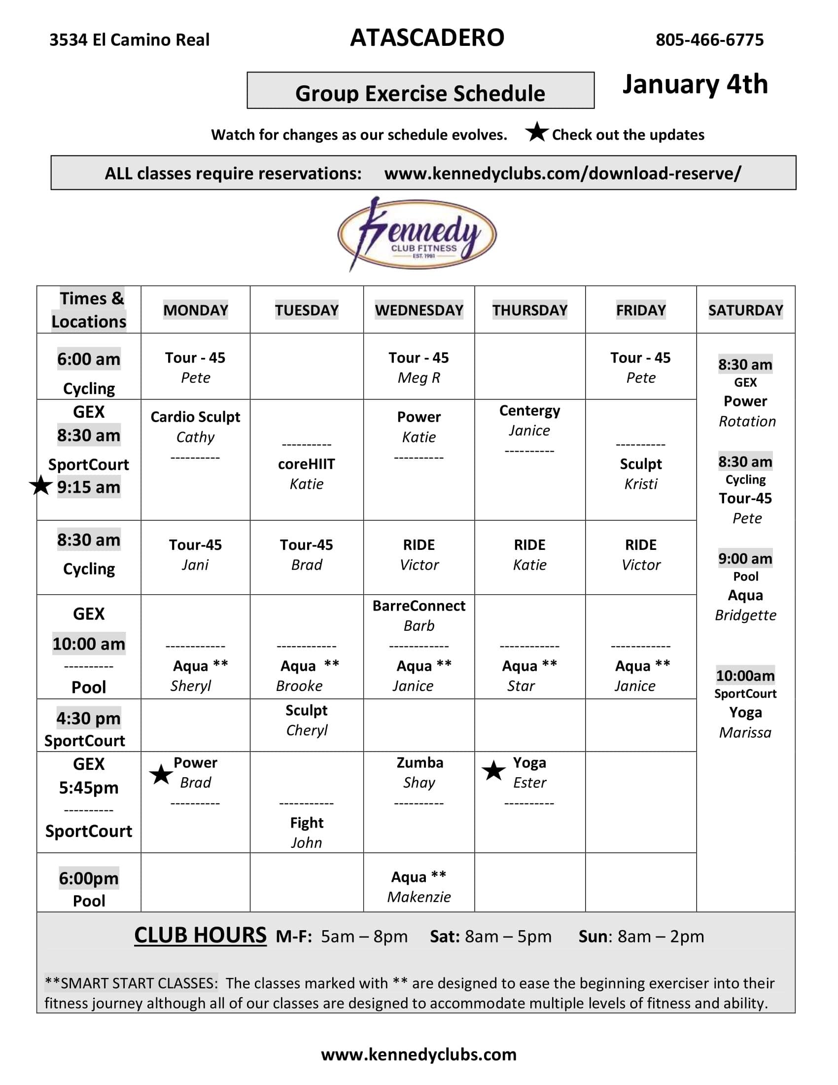 Kennedy Club Fitness Atascadero Group Exercise Schedule 01 04 2021