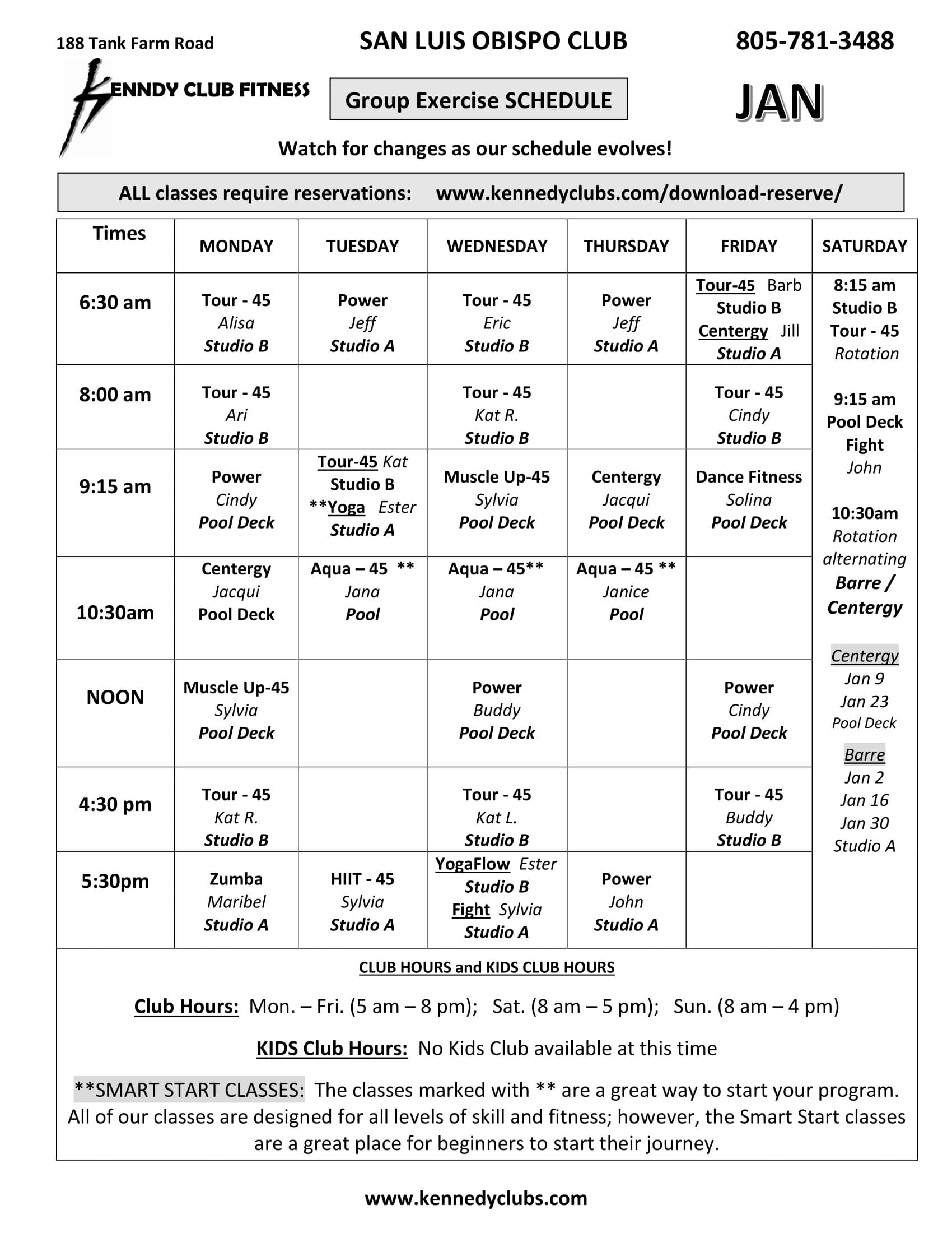 Kennedy Club Fitness San Luis Obispo Group Exercise Schedule 01 01 2021