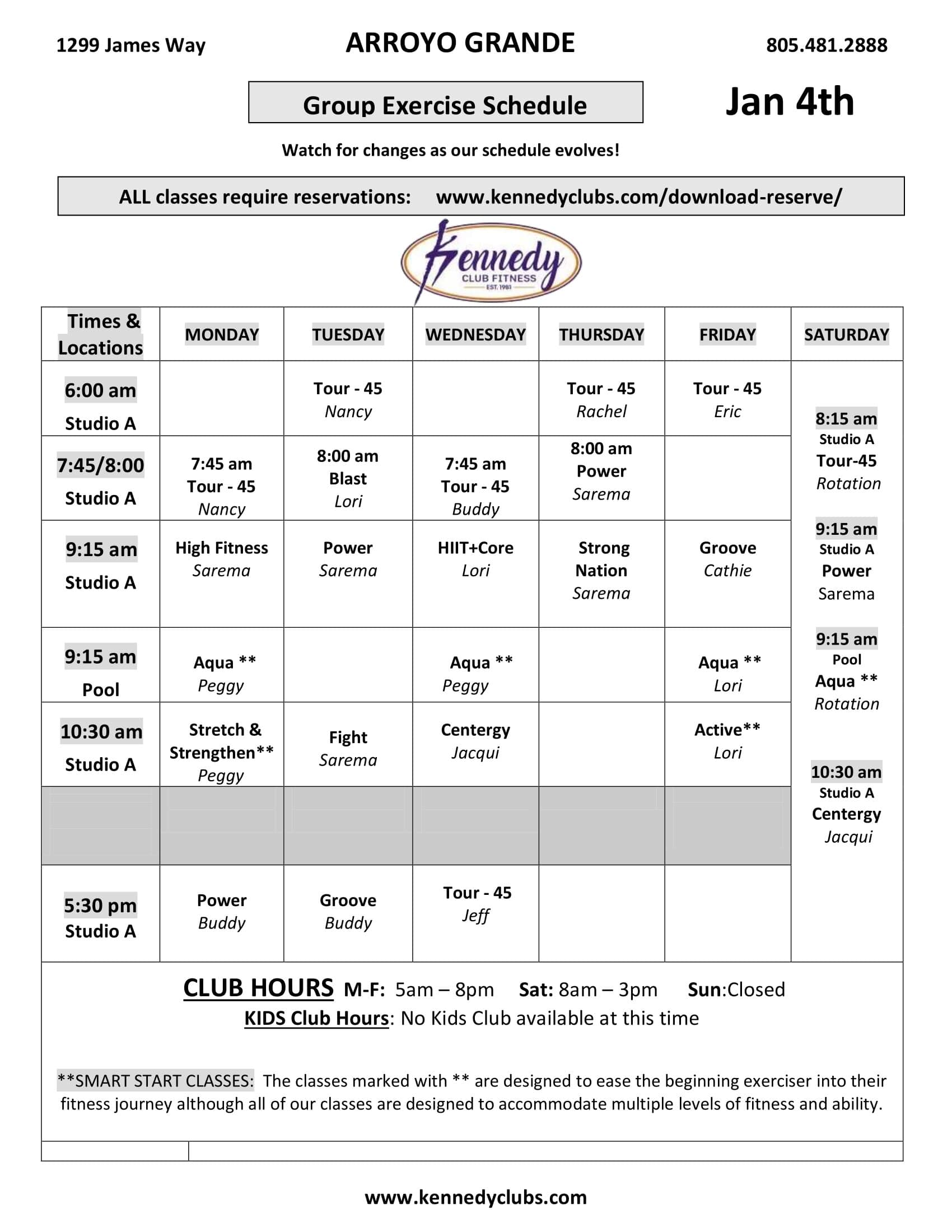 Kennedy Club Fitness Arroyo Grande Group Exercise Schedule 01 04 2021