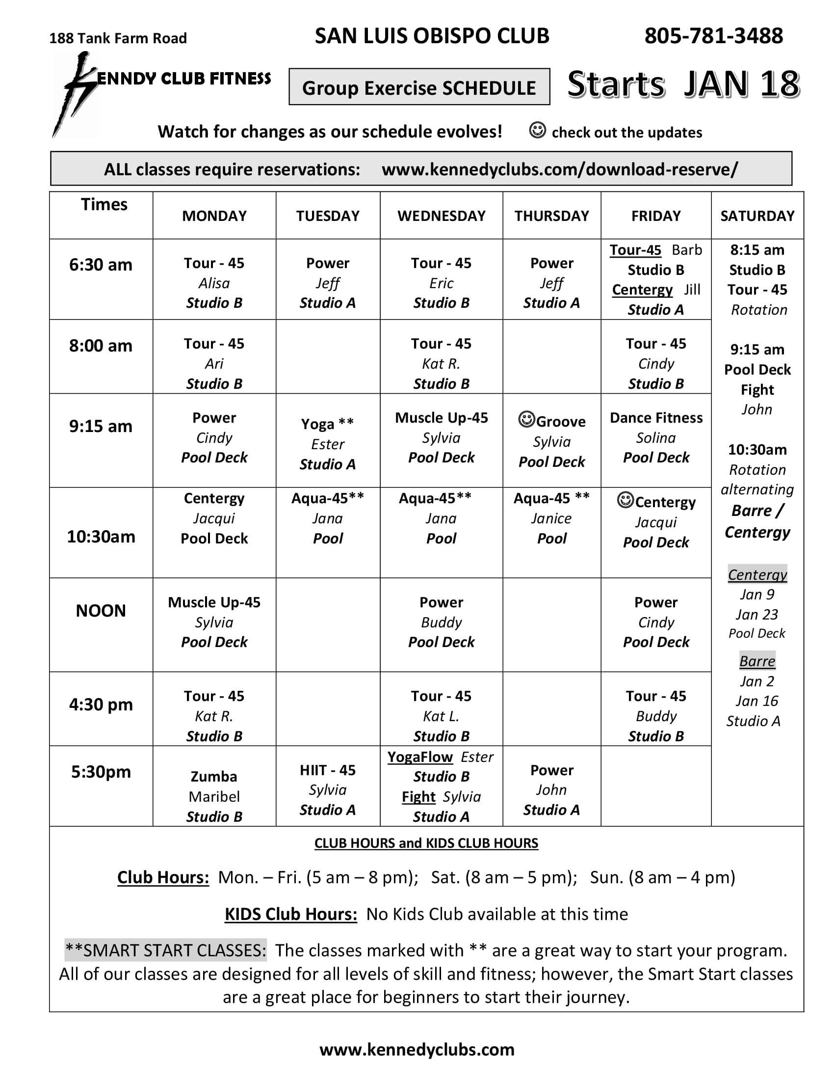 Kennedy Club Fitness San Luis Obispo Group Exercise Schedule 01 18 2021
