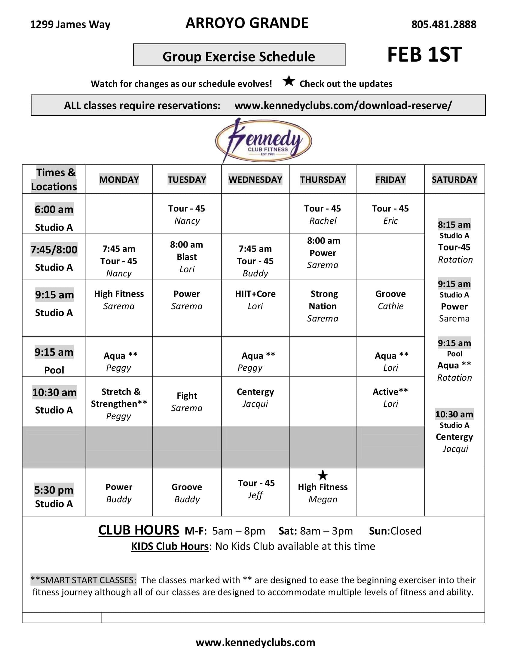 Kennedy Club Fitness Arroyo Grande Group Exercise Schedule 02 01 2021