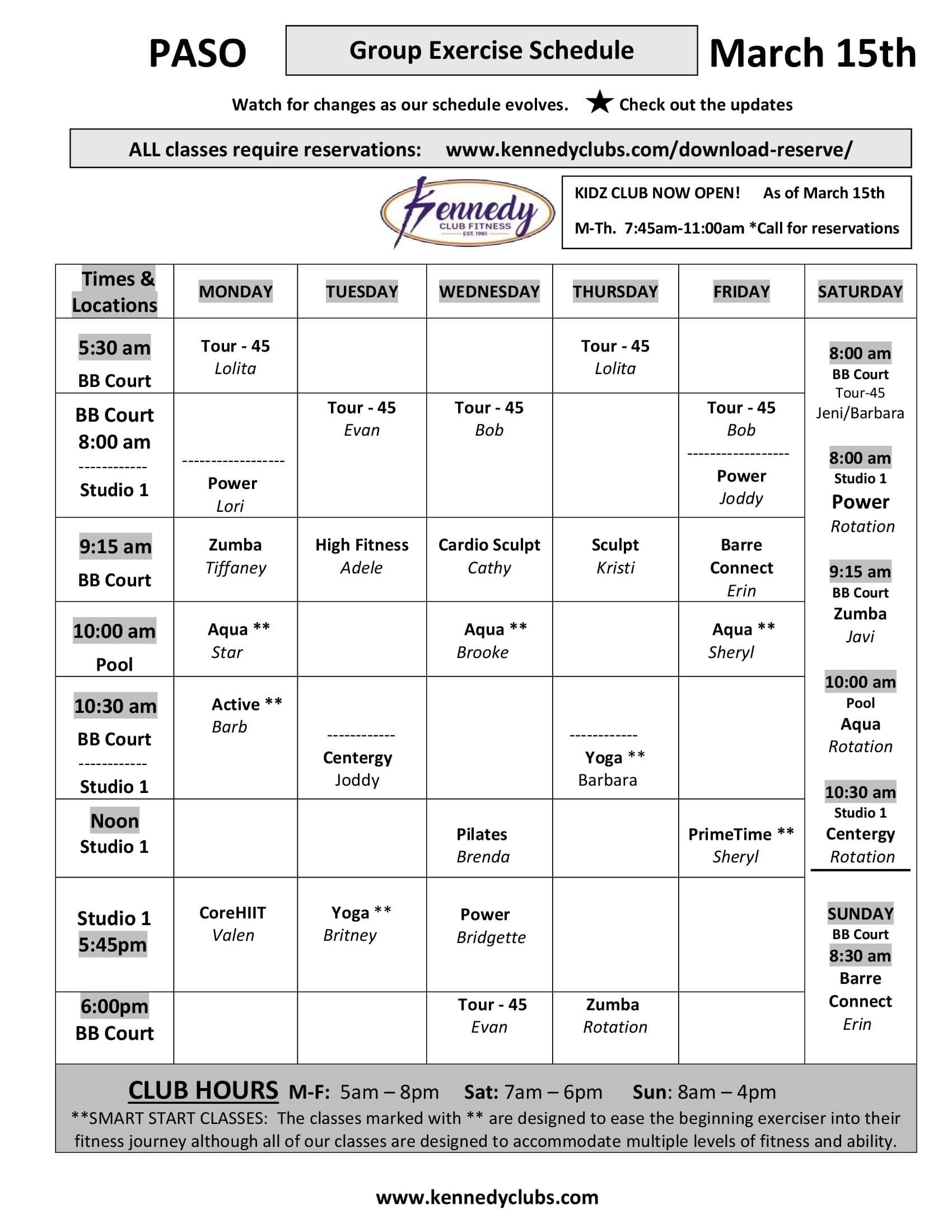 Kennedy Club Fitness Paso Robles Group Exercise Schedule 03 15 2021