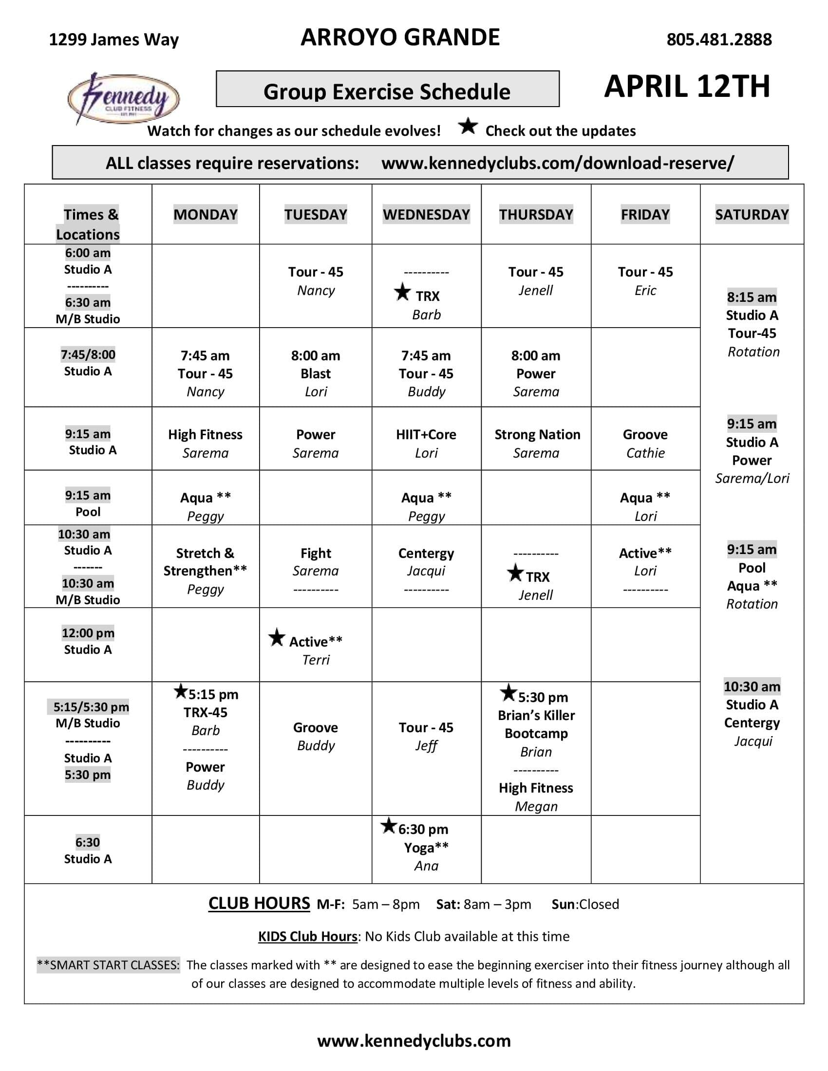 Kennedy Club Fitness Arroyo Grande Group Exercise Schedule 04 13 2021