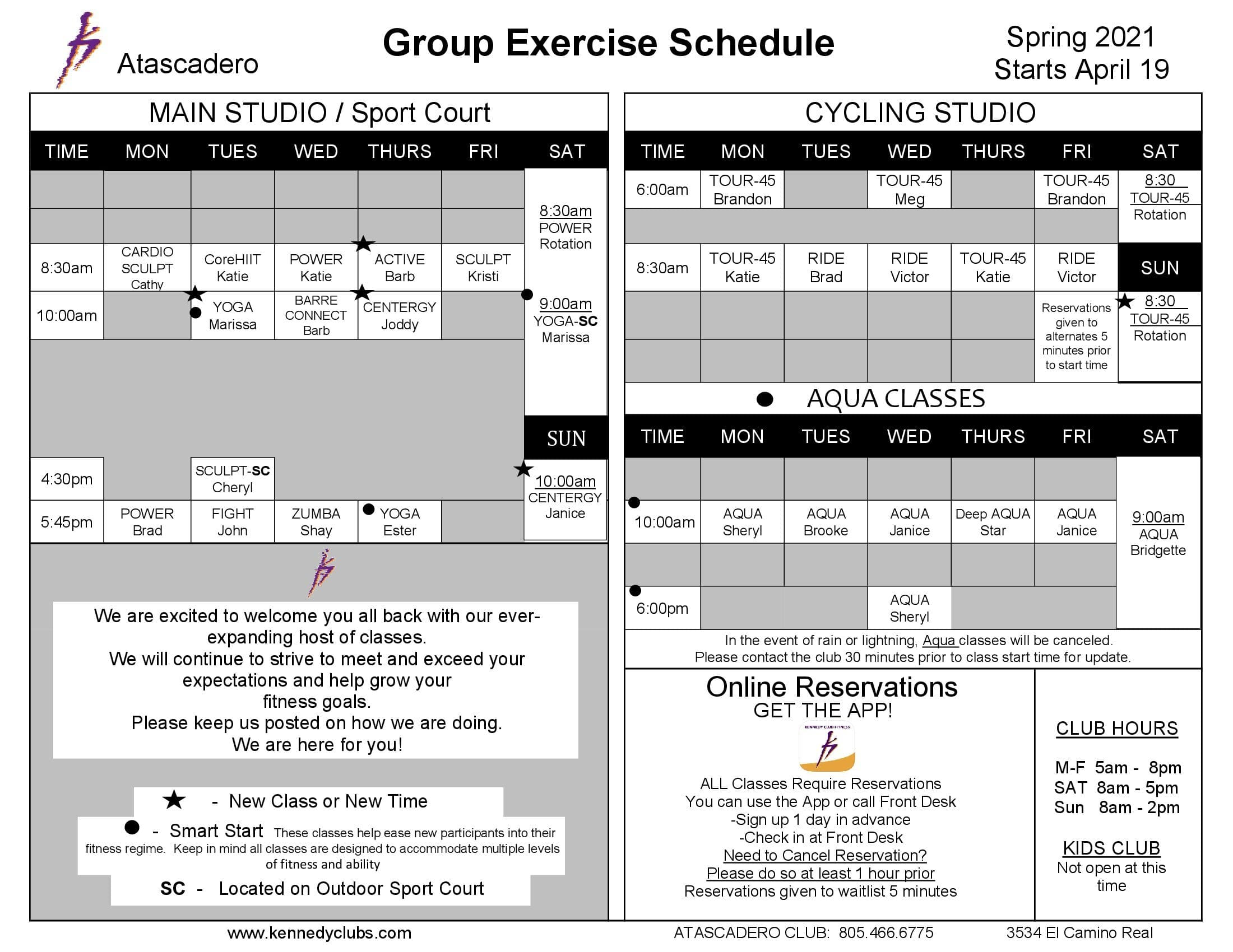 Kennedy Club Fitness Atascadero Group Exercise Schedule 04 19 2021