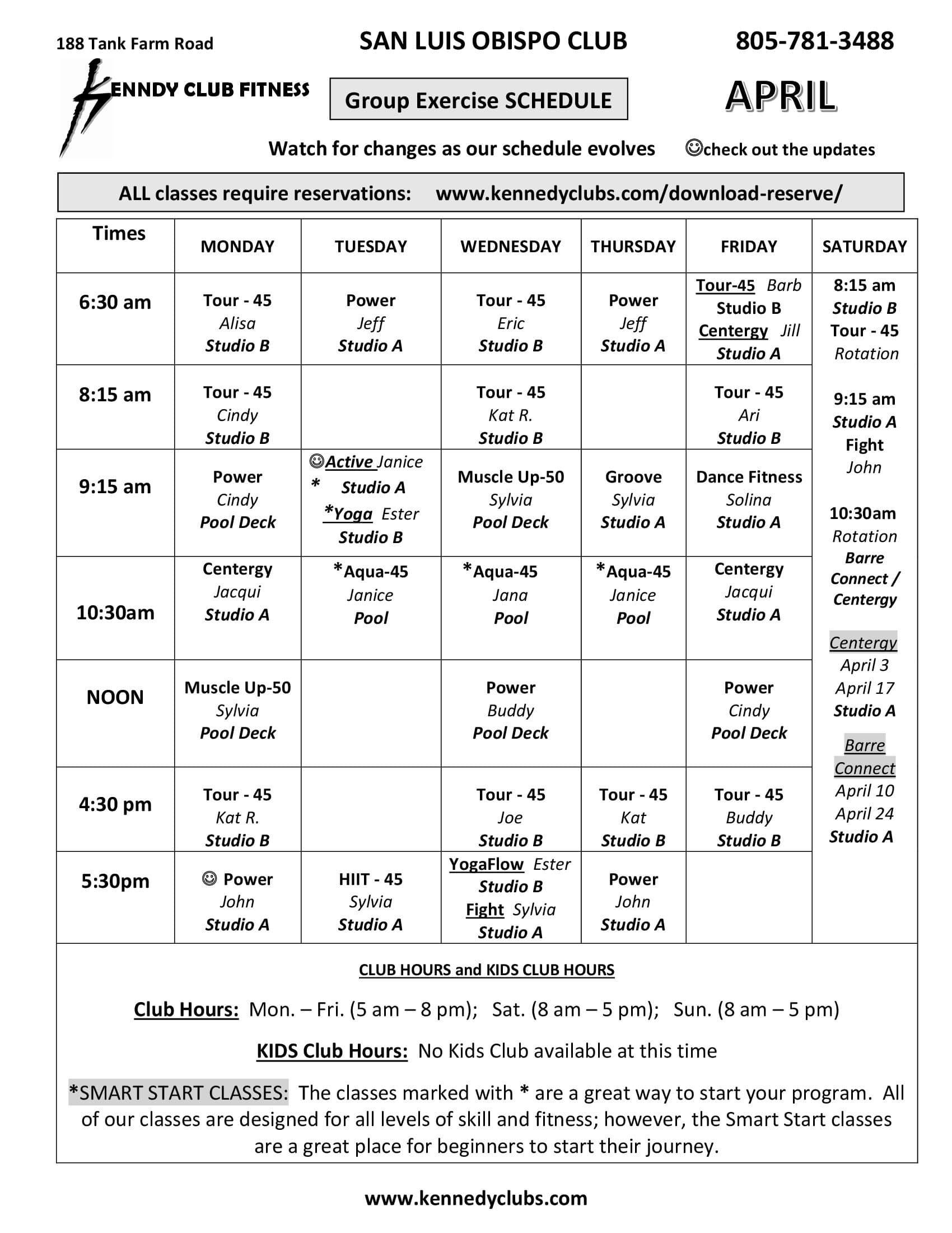 Kennedy Club Fitness San Luis Obispo Group Exercise Schedule 04 13 2021