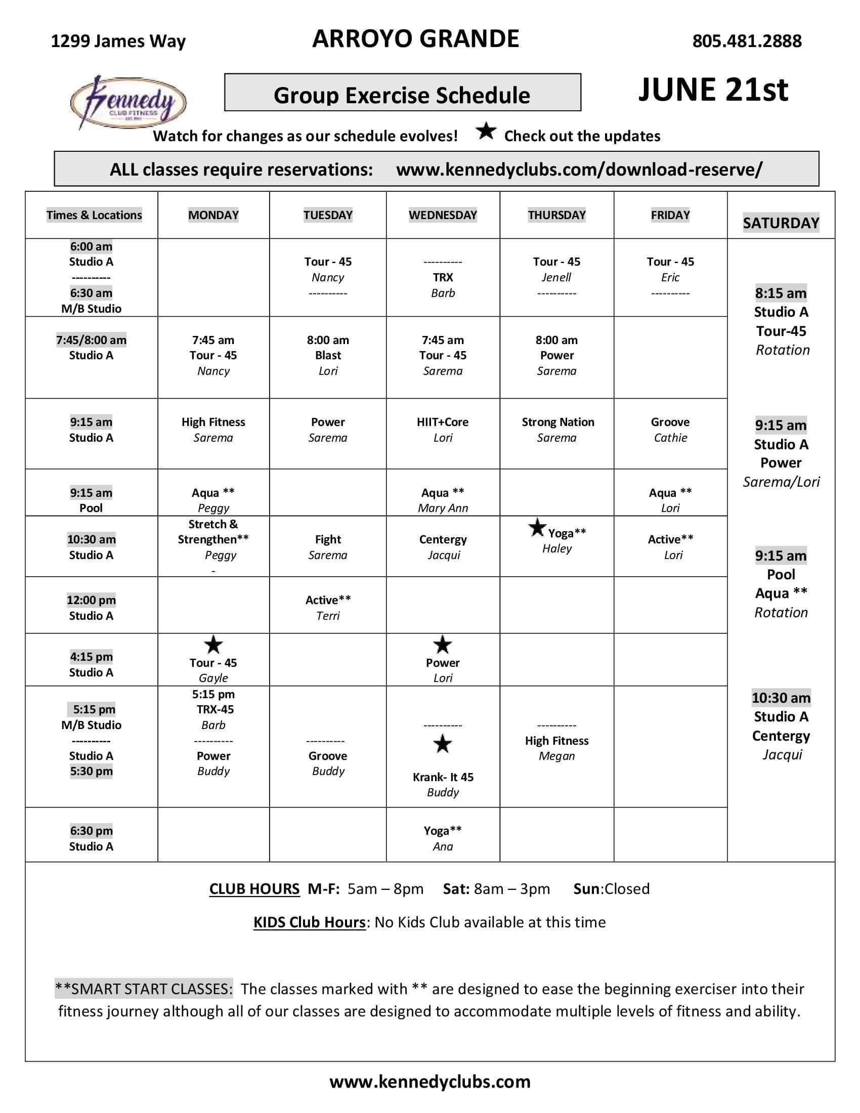 Kennedy Club Fitness Arroyo Grande Group Exercise Schedule 06 22 2021