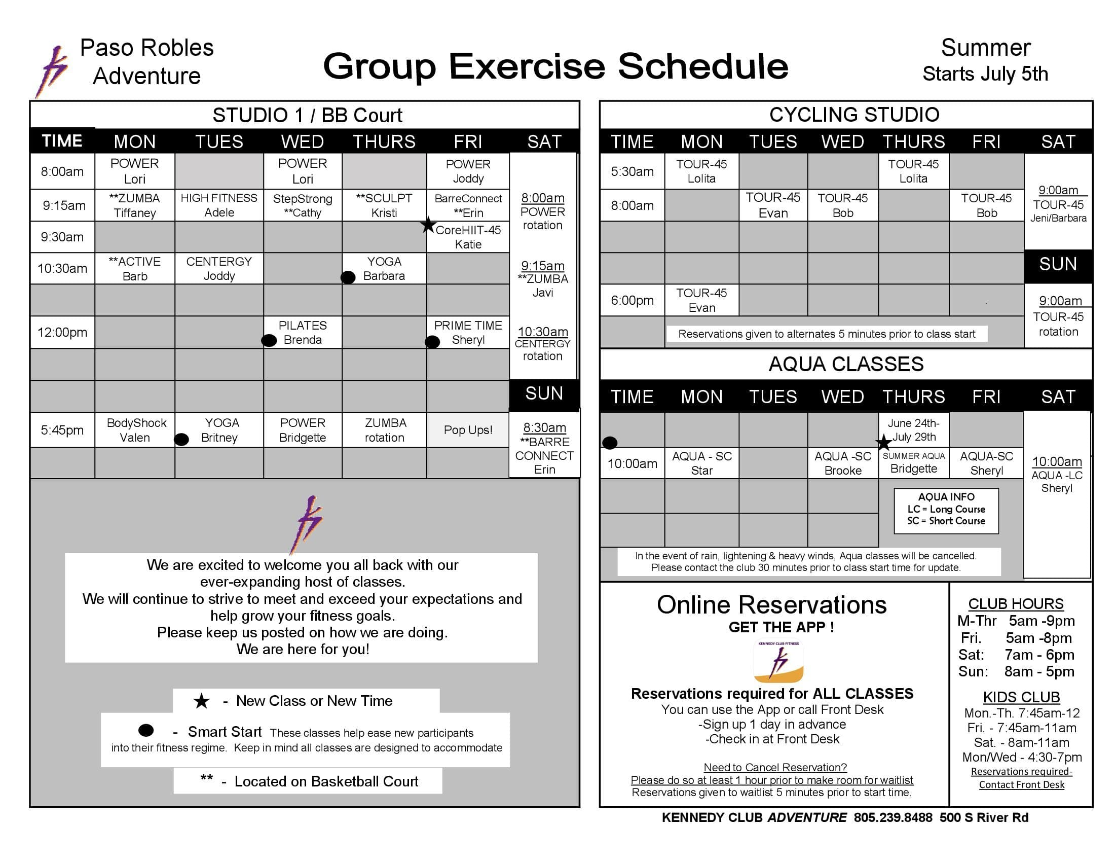 Kennedy Club Fitness Group Exercise Schedule 07 05 2021