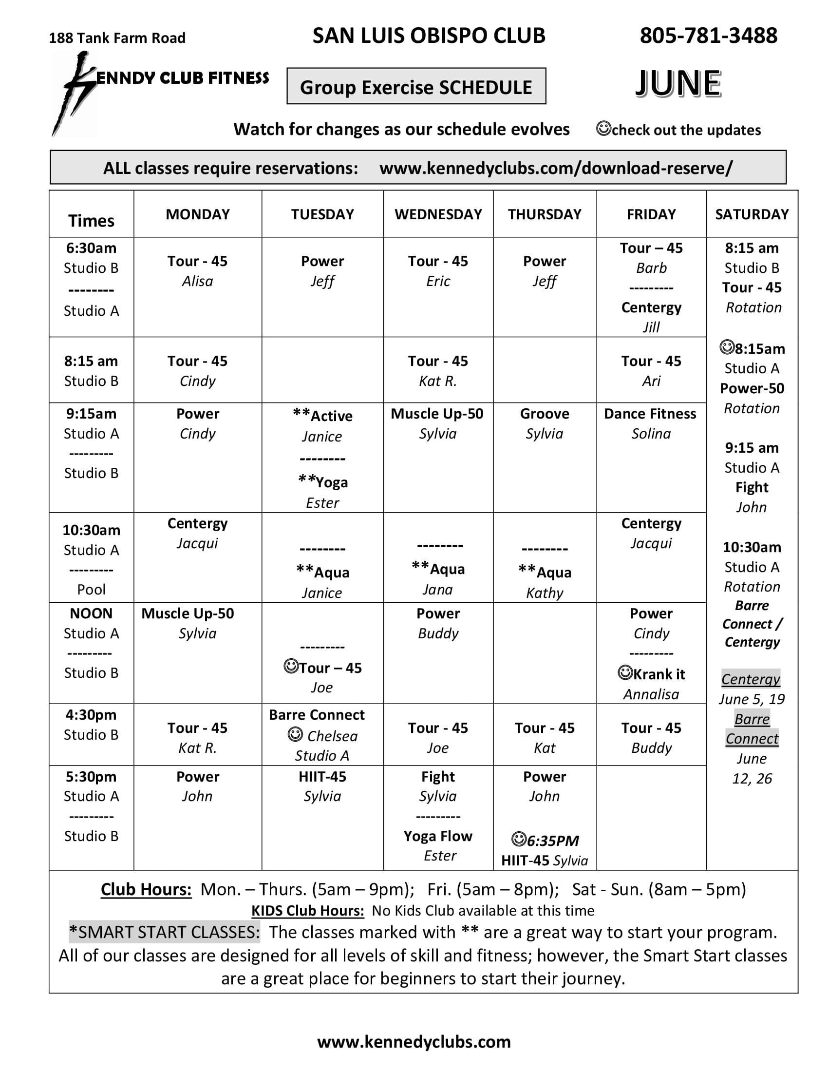 Kennedy Club Fitness San Luis Obispo Group Exercise Schedule 06 26 2021