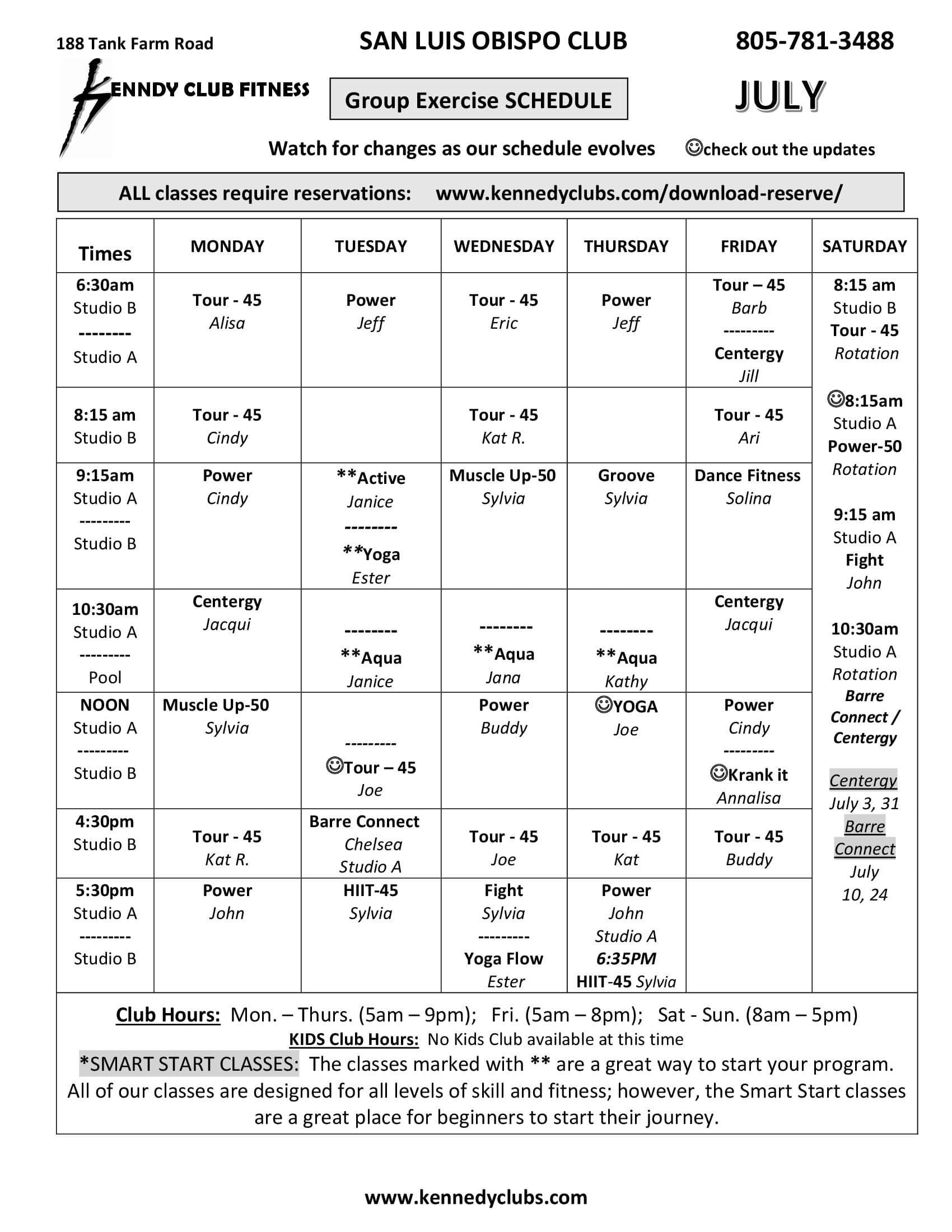 Kennedy Club Fitness San Luis Obispo Group Exercise Schedule 07 2021