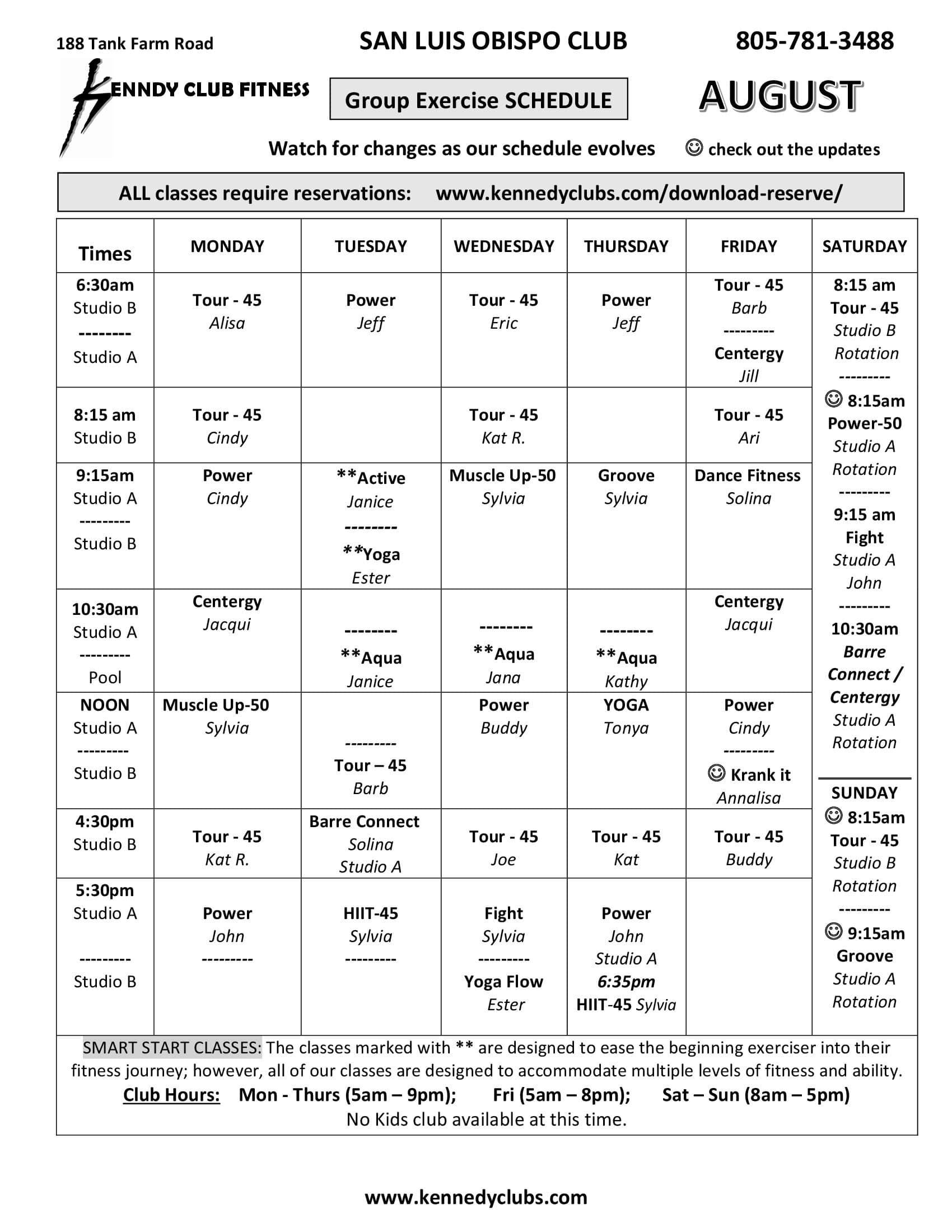 Kennedy Club Fitness San Luis Obispo Group Exercise Schedule 08 01 2021