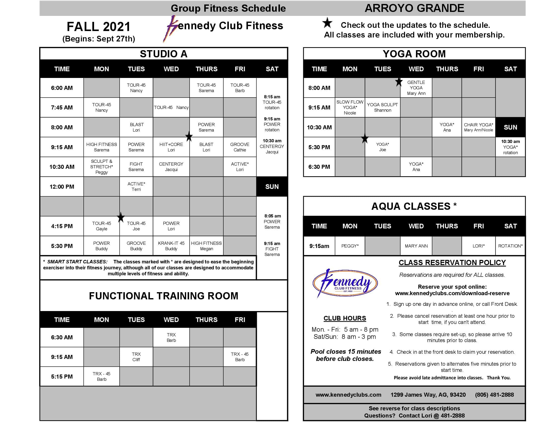 Kennedy Club Fitness Arroyo Grande Group Exercise Schedule