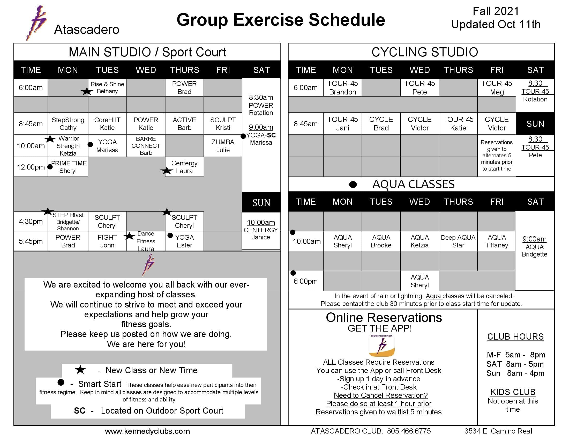 Kennedy Club Fitness Atascadero Group Exercise Schedule