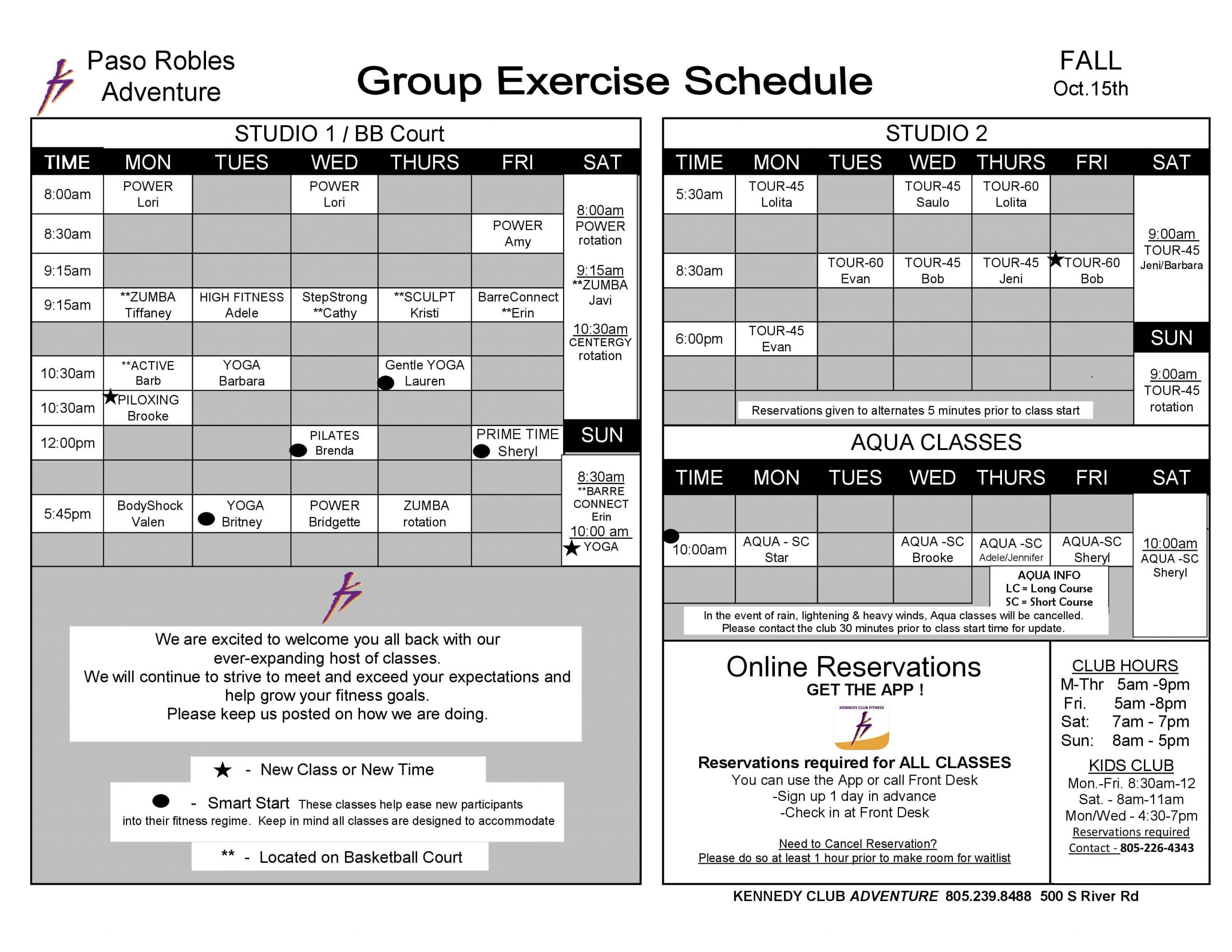 Kennedy Club Fitness Paso Robles Group Exercise Schedule